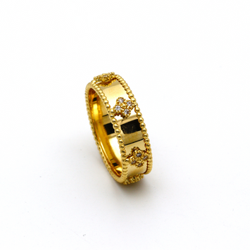 Real Gold VC A Stone Wedding Ring (SIZE 7.5) R1376 - 18K Gold Jewelry