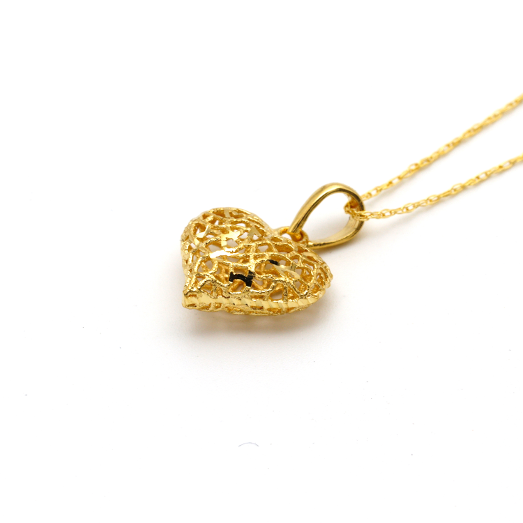 Real Gold 3D Net Heart Necklace CWP 1620 - 18K Gold Jewelry