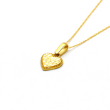 Real Gold 1 Side Glittering Heart Necklace CWP 1623 - 18K Gold Jewelry