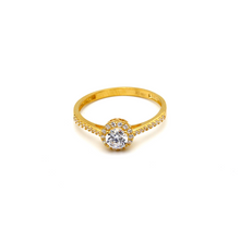 Real Gold Round Stone Ring 0125 (SIZE 6) R1644 - 18K Gold Jewelry