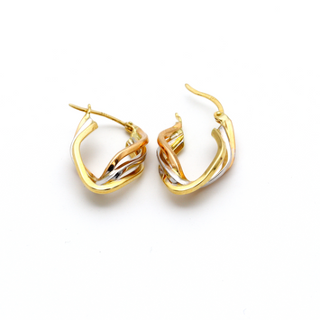Real Gold 3 Color Earring Set E1380 - 18K Gold Jewelry