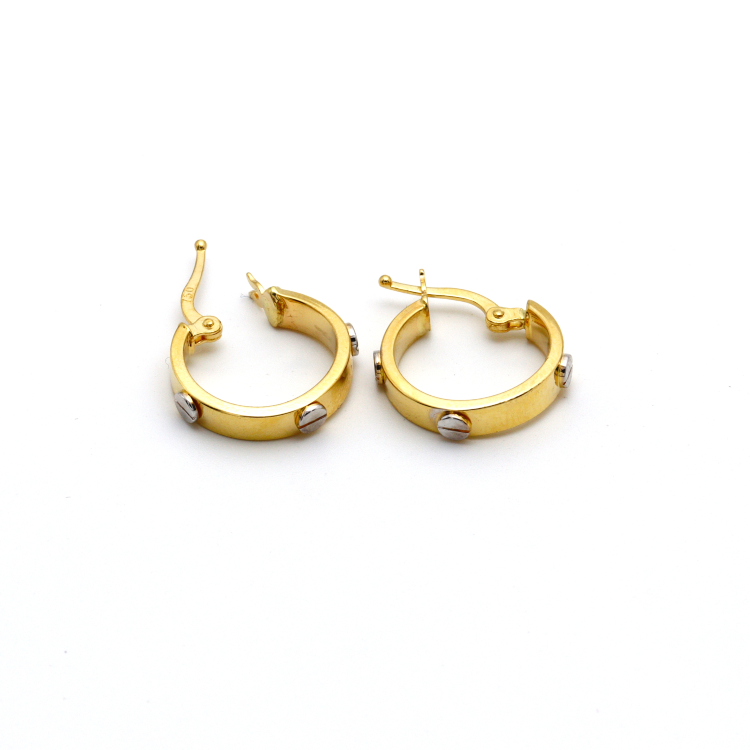 Real Gold 2 Color CR Earring Set E1381 - 18K Gold Jewelry