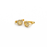Real Gold CH Stone Earring Set E1385 - 18K Gold Jewelry