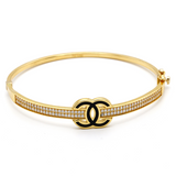 Real Gold 2 Color CH Bangle (SIZE 18) BA1153 - 18K Gold Jewelry