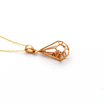 Real Gold Ball Cage Rose Gold Necklace 3001 CWP 1682