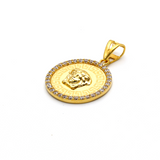 Real Gold Maze Hoop Stone Pendant P 1633 - 18K Gold Jewelry