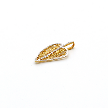 Real Gold 2 Color Leaf Pendant P 1627 - 18K Gold Jewelry