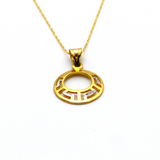 Real Gold 2 Color Round Maze Hoop Necklace CWP 1626 - 18K Gold Jewelry