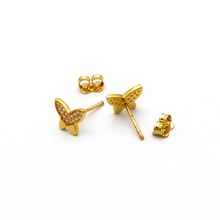 Real Gold Butterfly Stone Earring Set 0278 E1629 - 18K Gold Jewelry