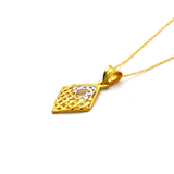 Real Gold 2 Color Net Rhombus Shape Necklace CWP 1628 - 18K Gold Jewelry