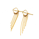 Real Gold 3 Color Beads Hanging Earring Set 1548 E1630
