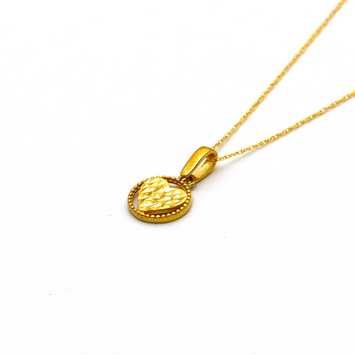 Real Gold 1 Side Glittering Round Heart Necklace CWP 1629 - 18K Gold Jewelry