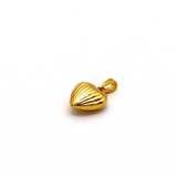 Real Gold 3D Lined Heart Pendant P 1641 - 18K Gold Jewelry