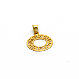 Real Gold Big Flat Maze Hoop Pendant P 1636 - 18K Gold Jewelry