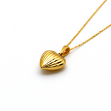 Real Gold 3D Lined Heart Necklace CWP 1641 - 18K Gold Jewelry