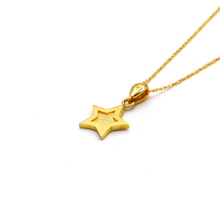 Real Gold 2 Side Star Necklace CWP 1642 - 18K Gold Jewelry