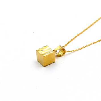 Real Gold 3D Cube Glittering Necklace CWP 1637 - 18K Gold Jewelry
