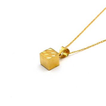 Real Gold 3D Cube Half Glittering Necklace CWP 1638 - 18K Gold Jewelry