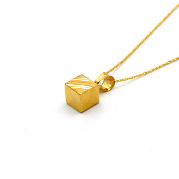 Real Gold 3D Cube Lined Necklace CWP 1639 - 18K Gold Jewelry