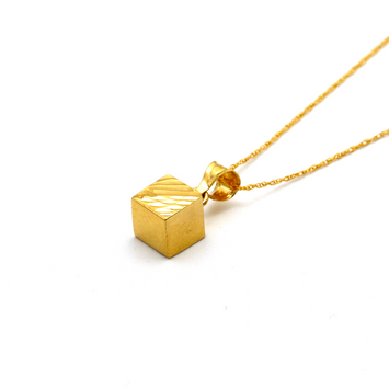 Real Gold 3D Cube Half Lined Half Glittering Necklace CWP 1640 - 18K Gold Jewelry