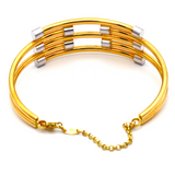 Real Gold 2 Color parallel Bangle 2564 (SIZE 18.5) BA1223