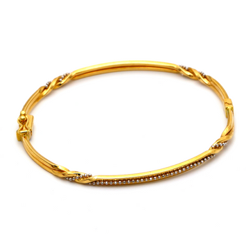 Real Gold 2 Color Twisted Beads Bangle 2589 (SIZE 17.5) BA1224