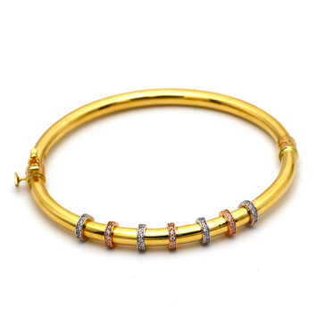 Real Gold 3 Color Round Bangle 0636 (SIZE 17.5) BA1225