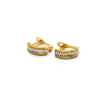 Real Gold 2 Color Brazilian Earring Set E1391 - 18K Gold Jewelry