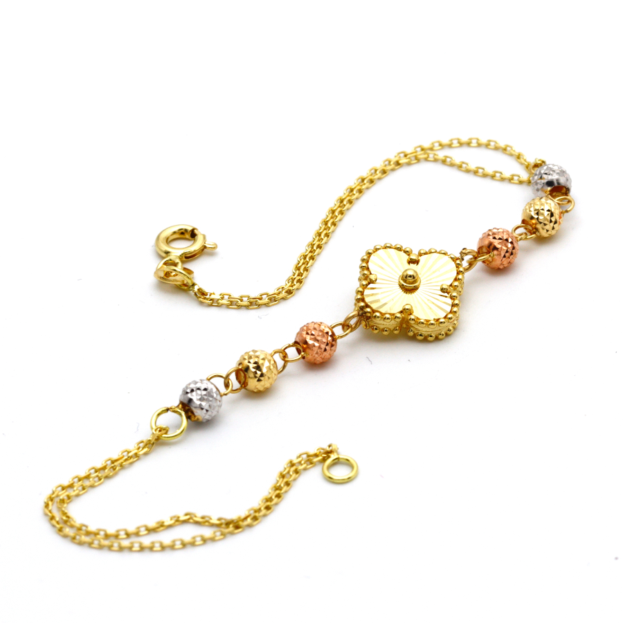 Real Gold 3 Color VC 6 Ball Bracelet BR1197 - 18K Gold Jewelry
