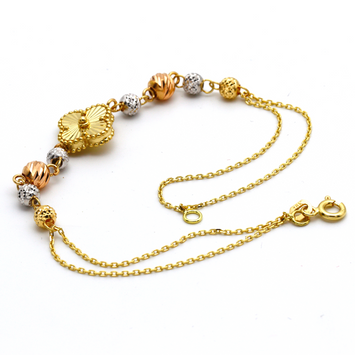 Real Gold 3 Color VC 8 Ball Bracelet BR1198 - 18K Gold Jewelry