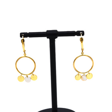 Real Gold 2 Color Round Dangler Earring Set 0737 E1651 - 18K Gold Jewelry
