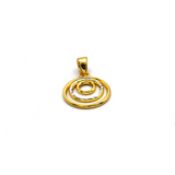Real Gold 1 Side 2 color 3 circle 1014 Pendant P 1643 - 18K Gold Jewelry