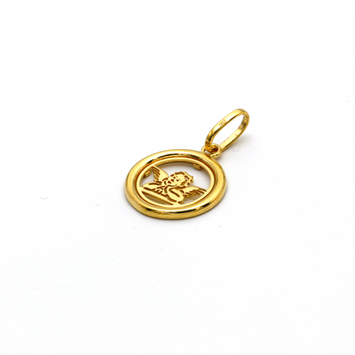 Real Gold Round Angel 2097 Pendant P 1647 - 18K Gold Jewelry