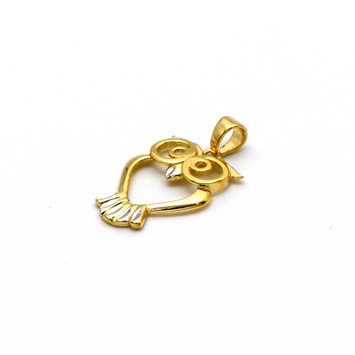 Real Gold 2 Color Owl 0370 Pendant P 1648 - 18K Gold Jewelry