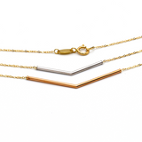 Real Gold 3 Color Adjustable Size V 0929 Necklace N1133 - 18K Gold Jewelry