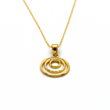 Real Gold 1 Side 2 color 3 circle 1014 Necklace CWP 1643 - 18K Gold Jewelry