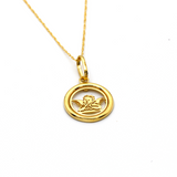 Real Gold Round Angel 2097 Necklace CWP 1647 - 18K Gold Jewelry