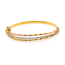 Real Gold 3 Color Ball 3 Steps Bangle 2637 (SIZE 17.5) BA1230 - 18K Gold Jewelry