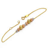 Real Gold 3 Color Big Ball Adjustable 2282 Bracelet BR1200 - 18K Gold Jewelry