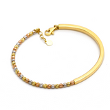 Real Gold 3 Color Ball Adjustable Size Bangle 2828 (SIZE 15) BA1167 - 18K Gold Jewelry