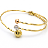 Real Gold 3 Color Ball Bangle 2896 (SIZE 18) BA1168 - 18K Gold Jewelry