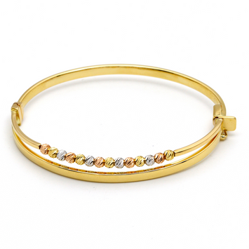Real Gold 3C Ball 2792 Bangle (SIZE 15) BA1166 - 18K Gold Jewelry