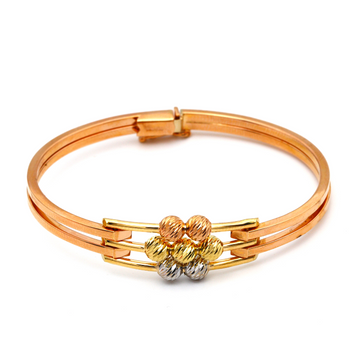 Real Gold 3 Color Flower Rose Gold Bangle 2520 (SIZE 14.5) BA1233