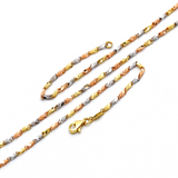 Real Gold 3 Color Flat Chain Necklace 6362 N1239