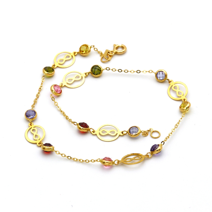 Real Gold Round Infinity Color Stone Anklet A1007 - 18K Gold Jewelry