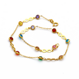 Real Gold Infinity Color Stone Anklet A1008 - 18K Gold Jewelry