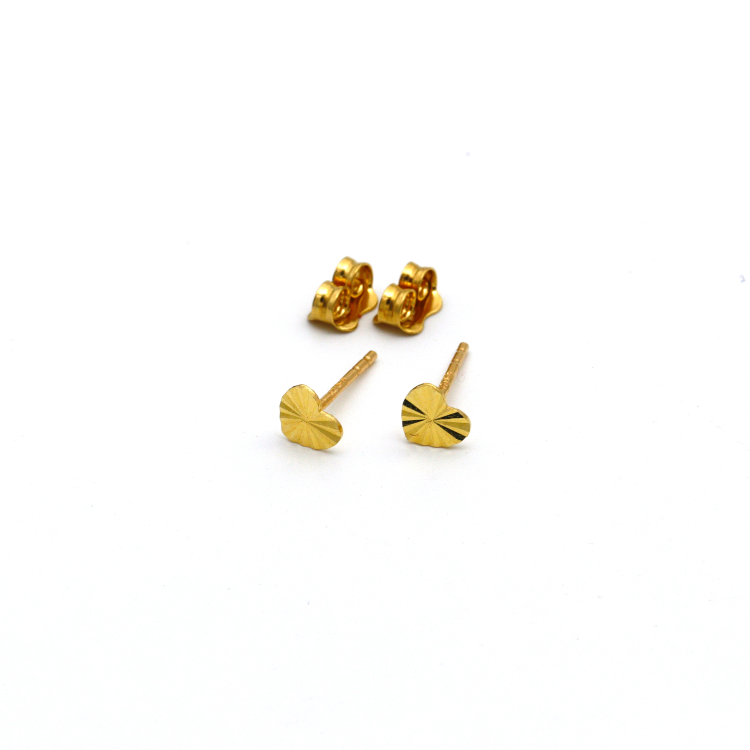 Real Gold Small Lined Heart Earring Set E1396 - 18K Gold Jewelry