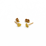 Real Gold Small Glittering Heart Earring Set E1396 - 18K Gold Jewelry