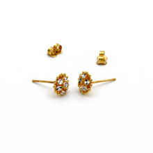 Real Gold 3C Glittering Round Earring Set E1402 - 18K Gold Jewelry