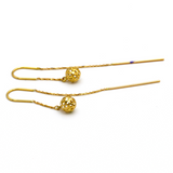 Real Gold Round Net Ball Hanging Earring Set E1403 - 18K Gold Jewelry